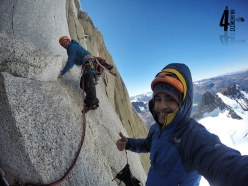 Iker Pou and Eneko Pou on pitch 4 of ¡Aupa 40! up the East Face of Aguja Guillaumet in Patagonia (5+, M7, 85°, 525m, 4/02/2017)