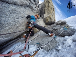 Iker Pou and Eneko Pou making the first ascent of ¡Aupa 40! up the East Face of Aguja Guillaumet in Patagonia (5+, M7, 85°, 525m, 4/02/2017)