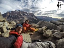 The bivouac used by Iker Pou and Eneko Pou for the first ascent of ¡Aupa 40! up the East Face of Aguja Guillaumet in Patagonia (5+, M7, 85°, 525m, 4/02/2017)