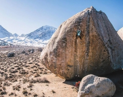 Nina Williams making the first female ascent of the highball boulder problem Ambrosia (V11, 8A) at the Buttermilks, Bishop, USA