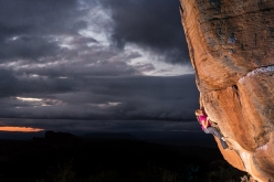 Katharina Saurweinbouldering at Rocklands in South Africa