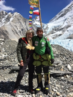 Reinhold Messner and Alex Txikon at Everest Case Camp in early March 2016