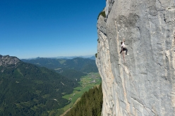 Fabian Buhl making the first free ascent of his Ganesha 8c at Sonnwendwand, Loferer Alm, Austria