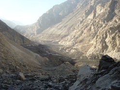 A view of the Hunza River gorge from top of the landslide debris