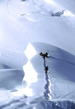Climbing at 7000m on Gasherbrum I. Six days after the summit of GII we proceed to C4 on GI.