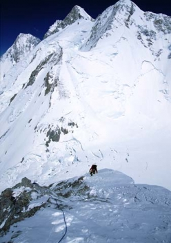 Ascent to C1 on GII. Following the beaten trail towards C1 on Gasherbrum.