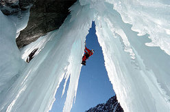 ice climbing in the Brunnital, Switzerland.