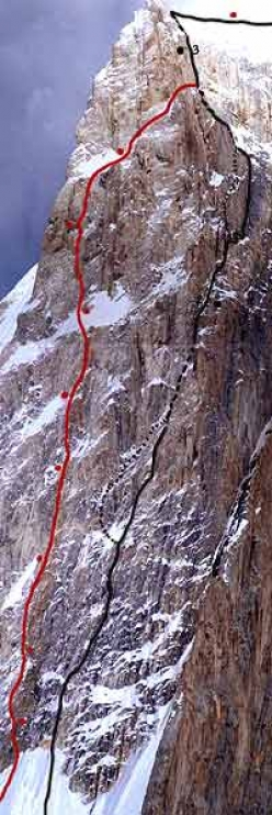 The upper section of the Spantik Pillar. The new Russian route, with bivouacs and the English route