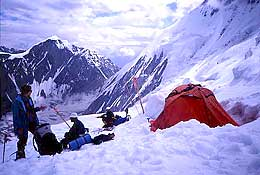 Diran Peak: One of the tents at Camp 2, destroyed by the avalanche