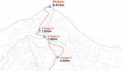 The ascent route to Makalu