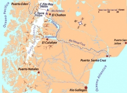 Patagonia by Water, the map of the traverse from one ocean to the other