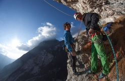 Daniele Geremia and Nicolò Cadorin at the belay of Via MammaSandra in Val Zemola, Dolomites, first ascended with Maurizio Fontana