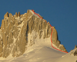 Aguja Guillaumet from the east, showing the Amy Route.