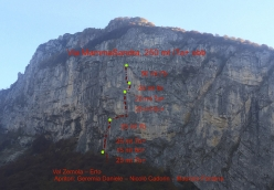 The route line of Via MammaSandra in Val Zemola, Dolomites, first ascended by Daniele Geremia, Nicolò Cadorin and Maurizio Fontana