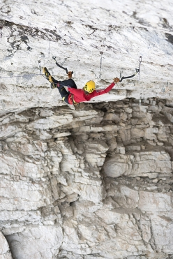 Angelika Rainer climbing French Connection D15- at Tomorrow's World in the Dolomites
