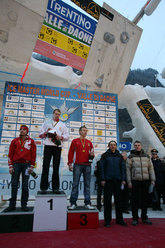 Male podium of the second stage of the Ice World Cup 2010 in Daone