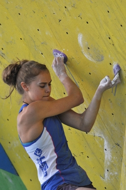 Margo Hayes competing in the Arco World Youth Climbing Championships 2015