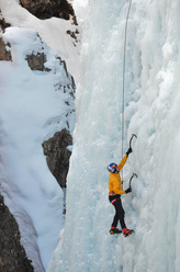 Will Gadd on lap 1 of his Endless Ascent at the Ouray Ice Festival 2010. Only 193 to go...