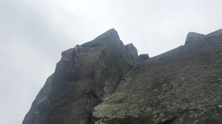Michele Caminati falling off the gritstone testpiece The Elder Statesman at Curbar, England. Despite his groundfall, the Italian climber walked away with only a broken wrist and heel