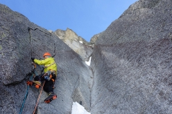 Sebastien Ratel and Jérôme Para repeating the Voie des guides up the North Face of Petit Dru, Mont Blanc massif