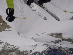 Denis Trento skiiing down the Whymper SW couloir, Grandes Jorasses, Mont Blanc massif
