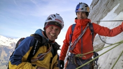 Peter Habeler repeating the Heckmair route up the North Face of the Eiger together with David Lama