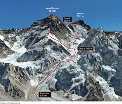 The Everest - Lhotse traverse and the line which Ueli Steck and Tenji Sherpa hope to follow.