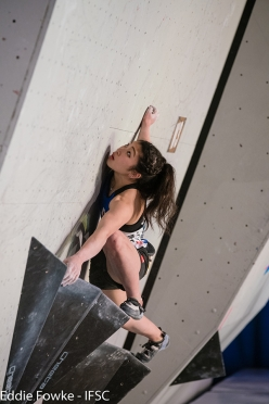 Miho Nonaka competing in the first stage of the Bouldering World Cup 2017 at Meiringen