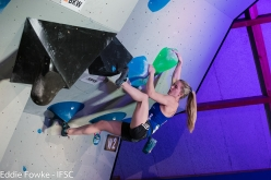 Shauna Coxsey competing in the first stage of the Bouldering World Cup 2017 at Meiringen