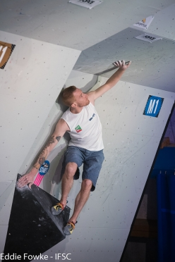 Gabriele Moroni competing in the first stage of the Bouldering World Cup 2017 at Meiringen