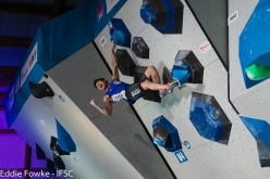 competing in the first stage of the Bouldering World Cup 2017 at Meiringen