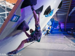 Jernej Kruder & Janja Garnbret competing in the first stage of the Bouldering World Cup 2017 at Meiringen
