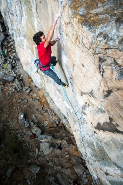 Jacopo Larcher making the first ascent of Gondo Crack 8c trad at the crag Cippo in Switzerland