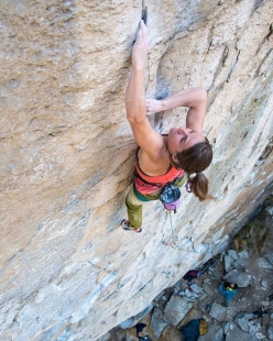 Barbara Zangerl making the first female ascent of Gondo Crack 8c trad at the crag Cippo in Switzerland