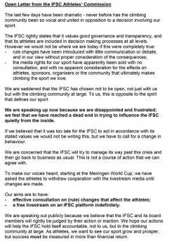 The Open Letter of the IFSC Athletes Commission open letter following the surprise decision of the International Federation of Sport Climbing to end free live streaming of climbing competitions.