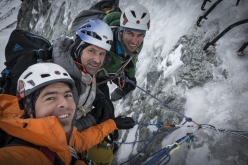 Dani Arnold, Alexander Huber and Thomas Senf making the first ascent of Schweizernase on the North Face of the Matterhorn