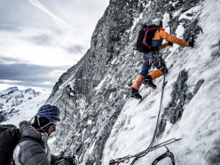 Dani Arnold and Alexander Huber during the first ascent of Schweizernase on the North Face of the Matterhorn