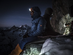 Dani Arnold at the bivouac during the first ascent of Schweizernase on the North Face of the Matterhorn