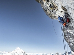 Alexander Huber and Dani Arnold during the first ascent of Schweizernase on the North Face of the Matterhorn