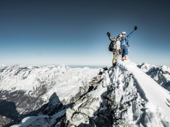 Alexander Huber and Dani Arnold on the summit of the Matterhorn, after having made the first ascent of Schweizernase up the North Face with Thomas Senf