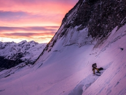 Dawn breaks on 15 March as Alexander Huber, Dani Arnold and Thomas Senf begin to climb the North Face of the Matterhorn