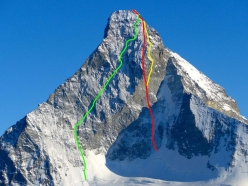 The Matterhorn and the route Schweizernase, first ascended by Alexander Huber, Dani Arnold and Thomas Senf (14-15/03/2017). In green the Schmid route, in yellow the Gogna-Cerruti route