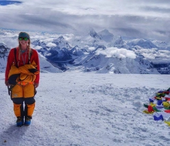 Emily Harrington on the summit of Cho Oyu shortly after 8:00 am on 1/10/2016