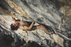 Adam Ondra making the first ascent of Queen line 9b at the crag Laghel at Arco, Italy