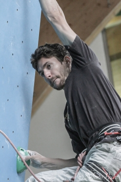 Stefano Ghisolfi climbing at the ADEL climbing wall at Campitello di Fassa, Italy, that will host the IFSC Climbing European Championships from 29 June to 1 July 2017