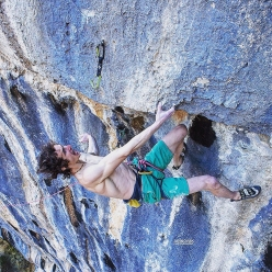 Adam Ondra making the first repeat of Lapsus, the 9b sport climb freed by Stefano Ghisolfi in 2015 at Andonno, Italy