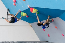 During the second stage of the Bouldering World Cup 2017 at Chongqing in China