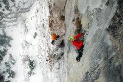 The Riegler brothers climbing Gratta e vinci (120m, M10, WI 5) Passo delle Pedale/Mendola, Italy