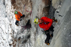 Florian Riegler at the start of pitch 4, Gratta e vinci (120m, M10, WI 5) Passo delle Pedale/Mendola, Italy