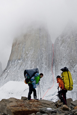 Hansjörg Auer and Much Mayr and the line of Waiting for Godot (750m, 7b) Torres del Paine, Patagonia.